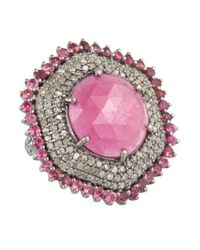 Bavna - Metallic Silver Ring W Pink Sapphire And Champagne Rosecut Diamond Pave And Pink Tourmaline - Lyst