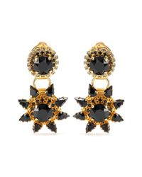 Erdem - Metallic Gold-Plated Clip-On Earrings With Crystal Embellishment - Lyst