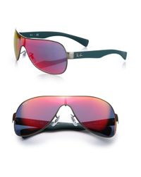 Ray-Ban - Pink Mirrored 65mm Shield Sunglasses - Lyst