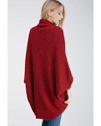 Forever 21 - Red Ribbed Dolman Cardigan - Lyst