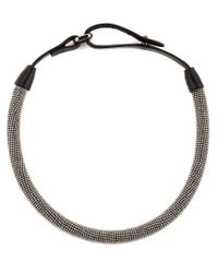 Brunello Cucinelli | Brown Metal Beaded Choker | Lyst