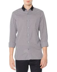 Lanvin | Gray Small-gingham Button-down Shirt for Men | Lyst