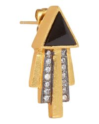 Kevia Black Gold-plated, Onyx And Crystal Earrings