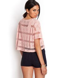 Forever 21 - Pink Striped Lace Top - Lyst
