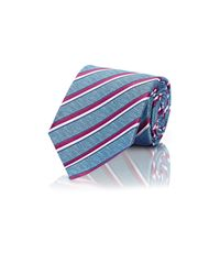 Ermenegildo Zegna Blue Men's Diagonal-striped Textured Necktie for men