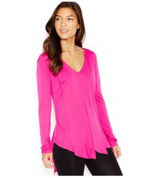 Kensie | Purple Asymmetrical Long-sleeve V-neck Top | Lyst