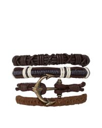 ASOS - Leather Anchor Bracelet Pack In Brown for Men - Lyst