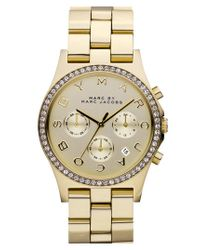 Marc By Marc Jacobs Metallic 'henry' Chronograph & Crystal Topring Watch