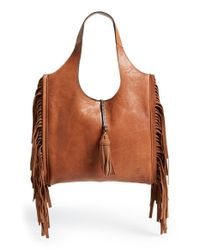 Frye | Brown 'farrah' Fringed Buffalo Leather Shoulder Bag | Lyst