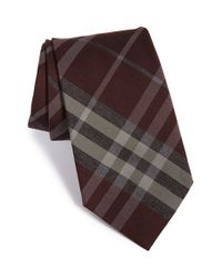 Burberry | Brown 'clinton' Woven Silk & Wool Tie for Men | Lyst
