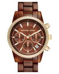 MICHAEL Michael Kors | Brown 'ritz' Chronograph Bracelet Watch | Lyst