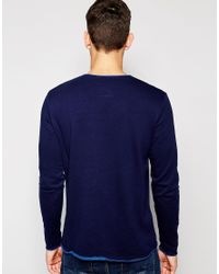 Esprit - Blue Crew Neck Sweatshirt With Contrast Lining for Men - Lyst