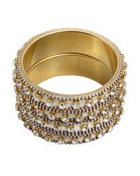 Chamak by Priya Kakkar - Metallic Set Of 2 Metal And Crystal Large Bangles - Lyst