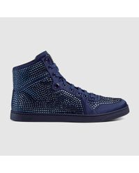 aa1e94ca338 Lyst - Gucci High-top Sneaker With Crystal Studs in Blue for Men