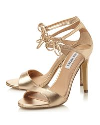 Steve Madden Metallic Semona Lace Up High Heel Sandals