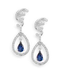 Effy | Blue Diamond, Sapphire & 14k White Gold Drop Earrings | Lyst