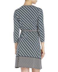 Max Studio - Black Printed Jersey Wrap Dress - Lyst