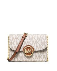 MICHAEL Michael Kors | Natural Fulton Monogram Crossbody Bag | Lyst