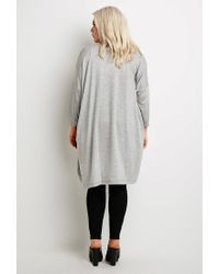 Forever 21 - Gray Plus Size Heathered Longline Cardigan - Lyst