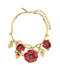 Oscar de la Renta | Metallic Painted Flower Necklace | Lyst