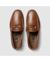 Gucci Men\u0027s Horsebit Leather Loafer in Light Brown Leather