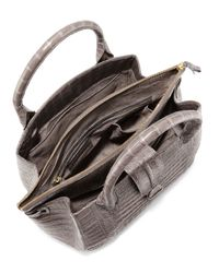 Nancy Gonzalez Gray Small Double-zip Crocodile Tote