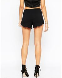 ASOS Black Scallop Hem Jersey Shorts