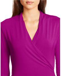 Lauren by Ralph Lauren | Purple Petite Jersey Mock Wrap Top | Lyst