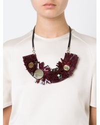Marni - Red Horn Sequin Necklace - Lyst