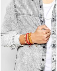 ASOS - Red Leather And Woven Bracelet Pack for Men - Lyst