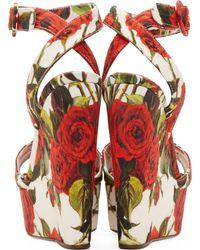 Dolce & Gabbana - Red Rose Print Brocade Wedge Sandals - Lyst