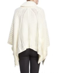 DKNY | Natural Cowl Neck Fringe Trim Poncho | Lyst