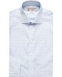 Turnbull & Asser | Blue Check Slim-fit Single-cuff Shirt - For Men for Men | Lyst