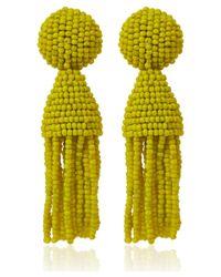 Oscar de la Renta | Short Yellow Tassel Clipon Earrings | Lyst