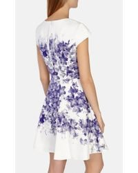 Karen Millen - Blue Floral Cotton Blend Dress - Lyst