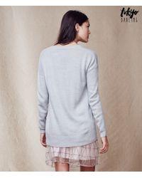 Tokyo Darling | Gray V-neck Pullover Sweater | Lyst
