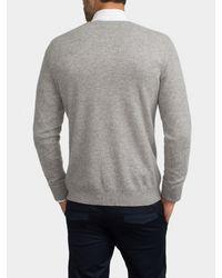 White + Warren Gray Mens Cashmere Chain Stitch V Neck for men