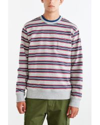 Obey - Gray Bertram Stripe Sweatshirt for Men - Lyst