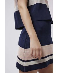 TOPSHOP | Blue Modern Stripe Skirt | Lyst