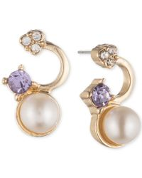Lonna & Lilly - Metallic Gold-tone Crystal And Imitation Pearl Drop Earrings - Lyst