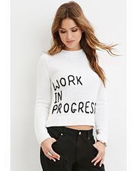 Forever 21 | Black Work Graphic Sweater | Lyst