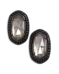 Kendra Scott | Metallic 'elaine' Stud Earrings - Gunmetal/ Mirror Rock Crystal | Lyst