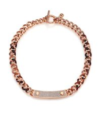 Michael Kors | Metallic Blush Tortoise-print Pavé Plaque Chain Necklace | Lyst