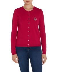 Armani Jeans - Red Long Sleeve Pearl Button Cardigan - Lyst