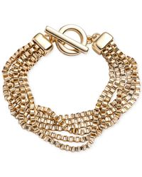 Anne Klein | Metallic Gold-tone Multi-row Chain Toggle Bracelet | Lyst