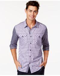 Guess | Purple Kaufman Mixed Check Shirt for Men | Lyst