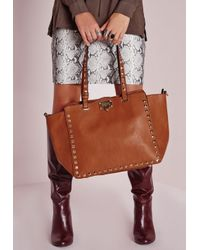 Missguided | Brown Studded Winged Tote Tan | Lyst
