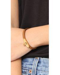 Tory Burch Multicolor Skinny Lock Leather Bracelet - Tiger's Eye/gold