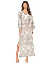 Agua de Coco - Brown Embroidered Open Back Dress - Lyst
