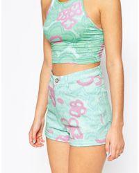 Motel | Green Ibu High Waisted Short In Daisy Wash Mint | Lyst